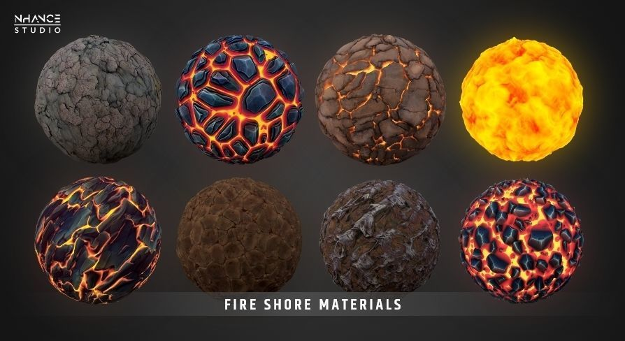 Stylized Fantasy Fire Shore Landscape Material Pack