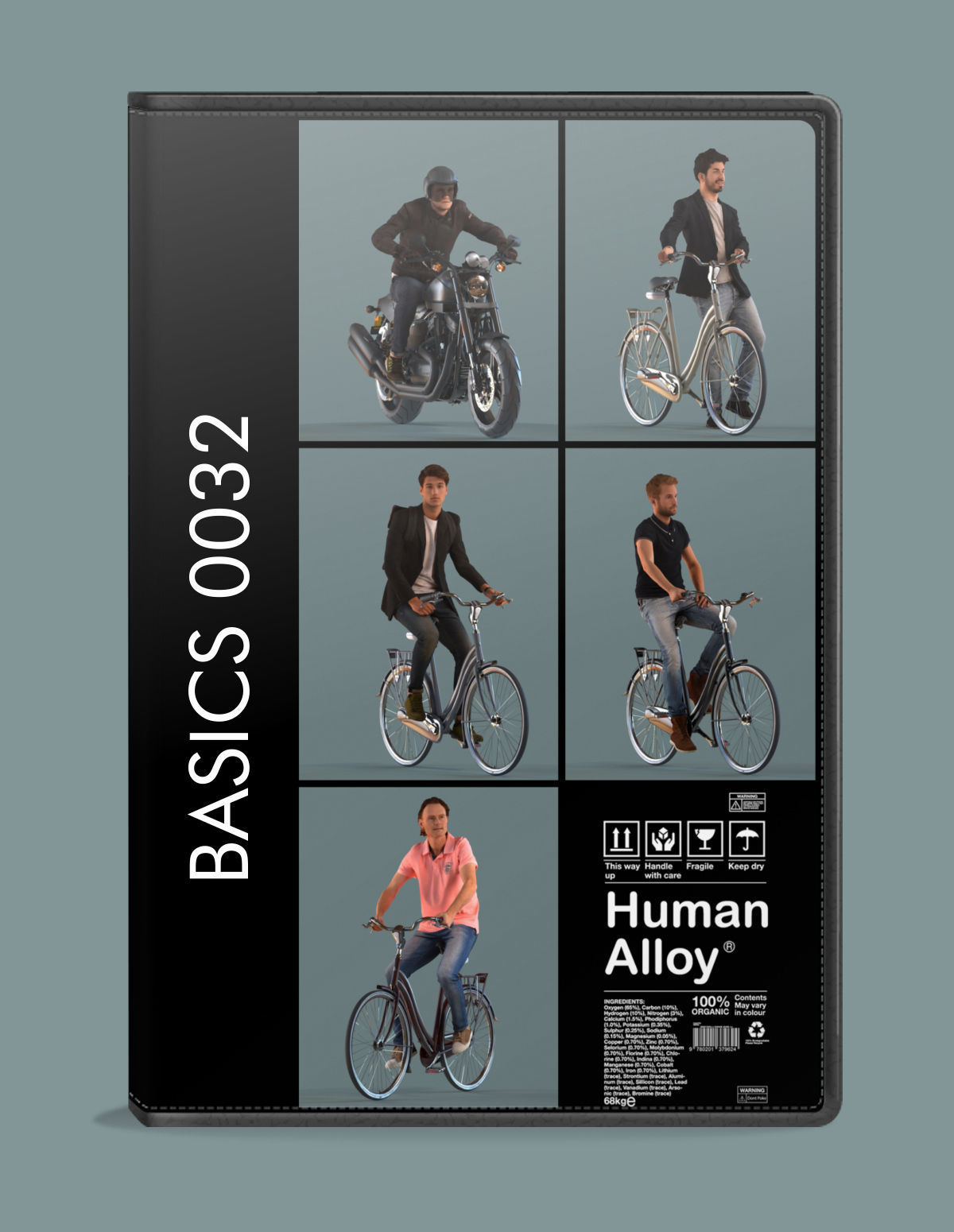 set of  3D men on bicycles or motor cycle low-poly 3D models