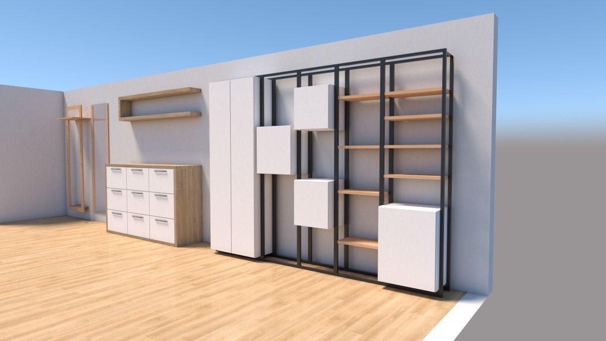 3d Model Steel Wood Shelf Rack And Hallway Furniture