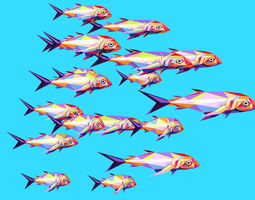 Animated Low Poly Pop Art Flock Sea Fish 3D model