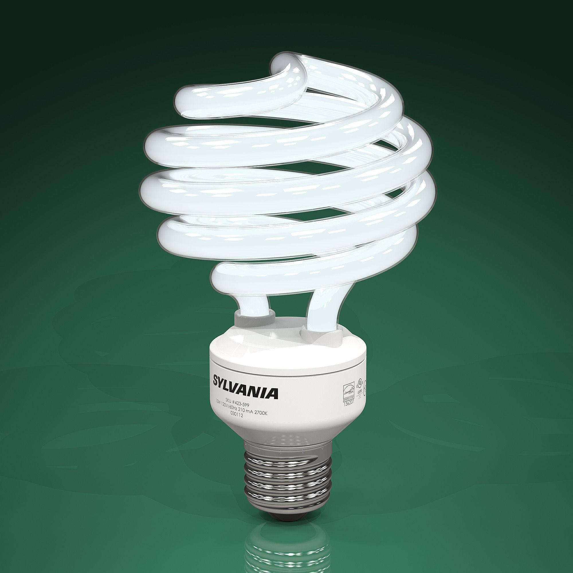 3D model pact fluorescent light bulbs CFLs