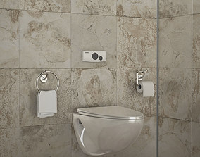 Toilet and Bidet 3d model
