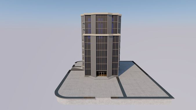 bank building 3d model low-poly max 3ds fbx 1