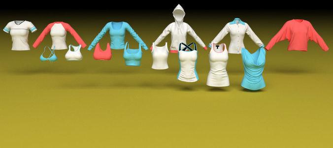 female clothing shirts and vests and tops 3d model max obj mtl 3ds fbx c4d 1