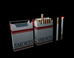 Cigarette and Simple Box 3D asset