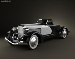3D Duesenberg SJ Boattail Speedster 1933