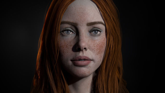 realistic female real-time head  3d model low-poly obj mtl 1