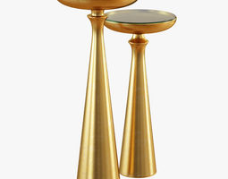 3D model Tapered Round Brass Side Table Tall or Short
