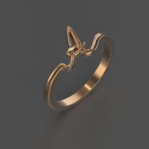 jewelry diamond beautiful ring letter 3d printed model 3d model obj mtl 3ds stl 3dm 1