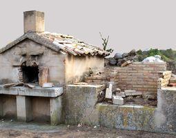 3D Brick Barbecue Ruins Photoscan
