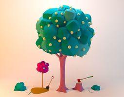 3D model Collection Cartoon Tree
