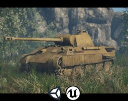 3D asset World War II - Panther Panzer V - Game Ready - 1