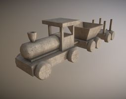 low poly wooden toy train 3d model game-ready PBR