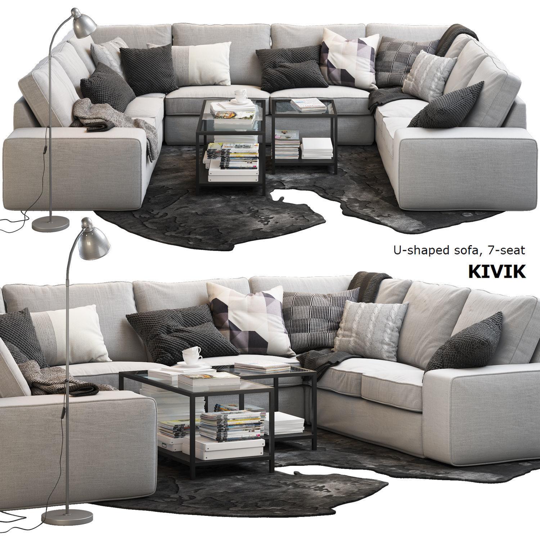 premium selection 7628c 14063 Ikea KIVIK 7-seat U-shaped sofa | 3D model