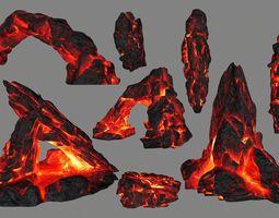 lava rocks 3D model low-poly