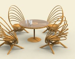 3D model A table and chair