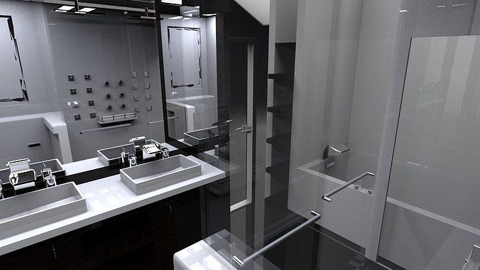 interior small bath 3d model  1