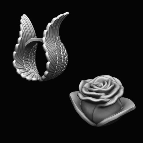 ring - wings and rose separates 3d model stl 1