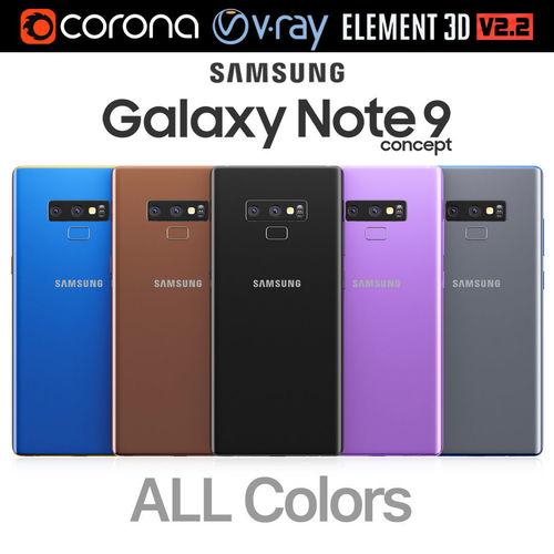 samsung galaxy note 9 all colors 3d model max obj mtl 3ds mat 1