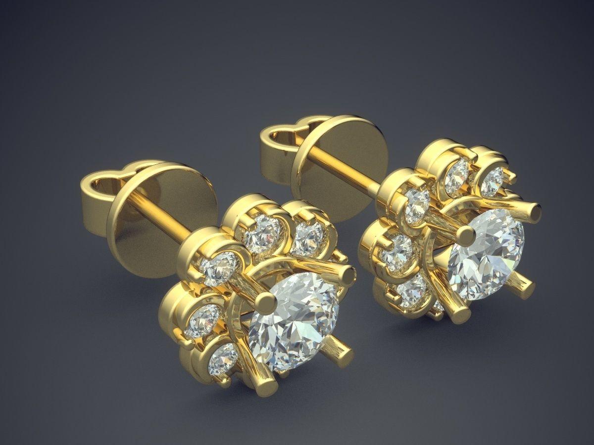Golden Flower Shaped Earrings With Diamonds Print Model