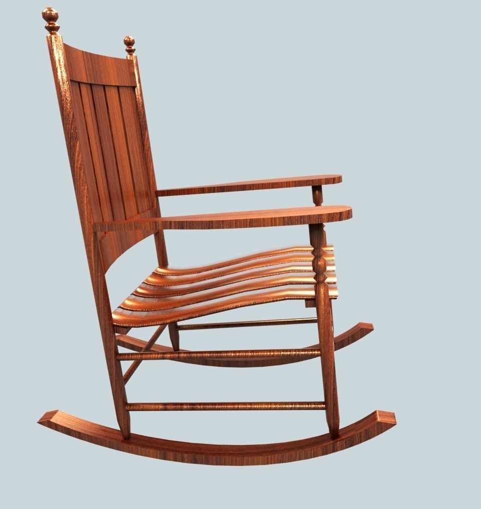 Wooden Rocking Chair free low-poly 3d model ready for Virtual Reality ...