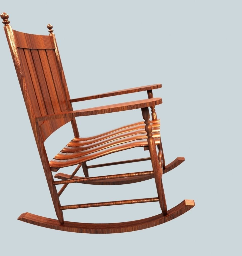 Merveilleux ... Wooden Rocking Chair 3d Model Low Poly Max 2 ...
