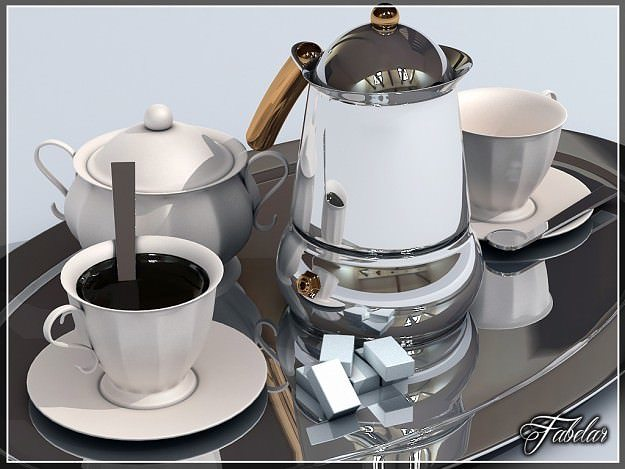 coffee service tray 3d model max 3ds mat 1