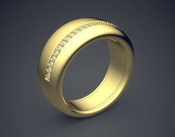 3D print model Thick Unisex Ring with Diamond Detailing