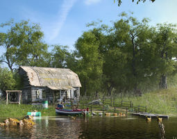 3D Exterior Lake River House with Dock and Boat Scenery