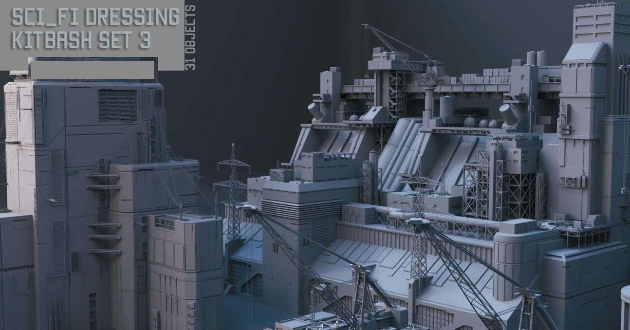 Scifi dressing kitbash set 3 | 3D model