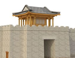 3D Chinese City River Gate low-poly