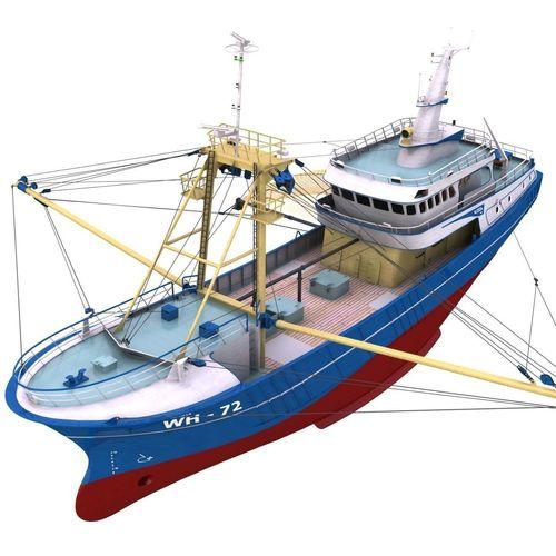 fishing boat - 01 -  3d model obj mtl 3ds fbx lwo lw lws 1