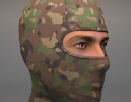 3D model Military Balaclava mask Woodland