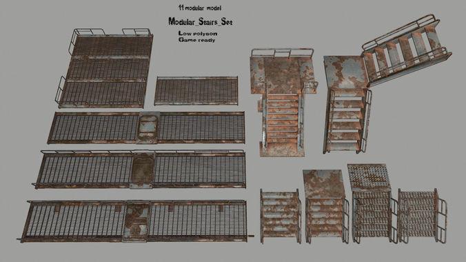 stairs  set 3d model low-poly obj mtl fbx blend 1