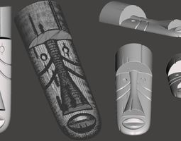 WoodCarving detail - tiki mask - 3d model for CNC -