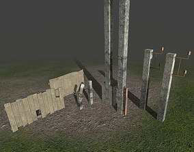 Fences and electrical posts - PBR - lowpoly - 3D model