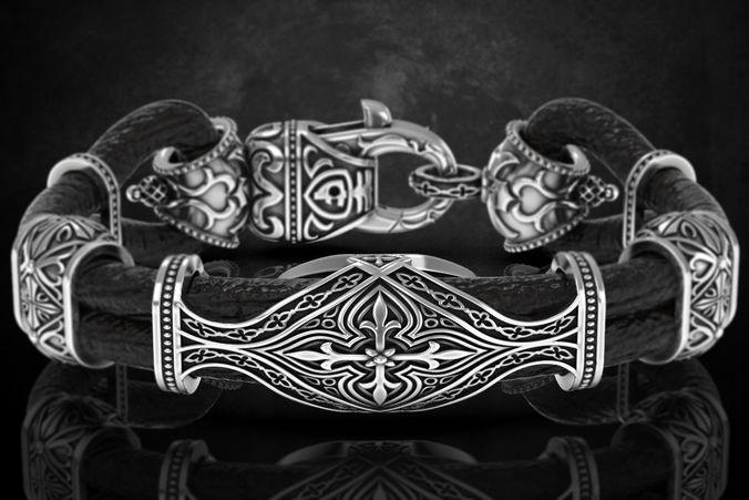 Stylish antique bracelet with patterns cross 387