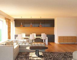 Modern TV lounge 3d Max Corona model realtime