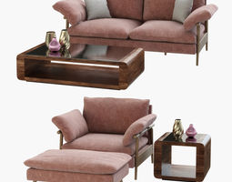 sofa hoxton and table penthouse 3d model