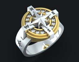 wind rose ring 3d printable model