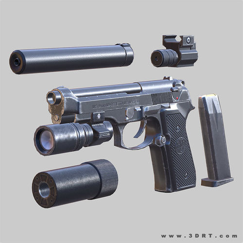 modern firearms - beretta m9 animated 3d model low-poly rigged animated max obj mtl fbx ma mb blend dae 1