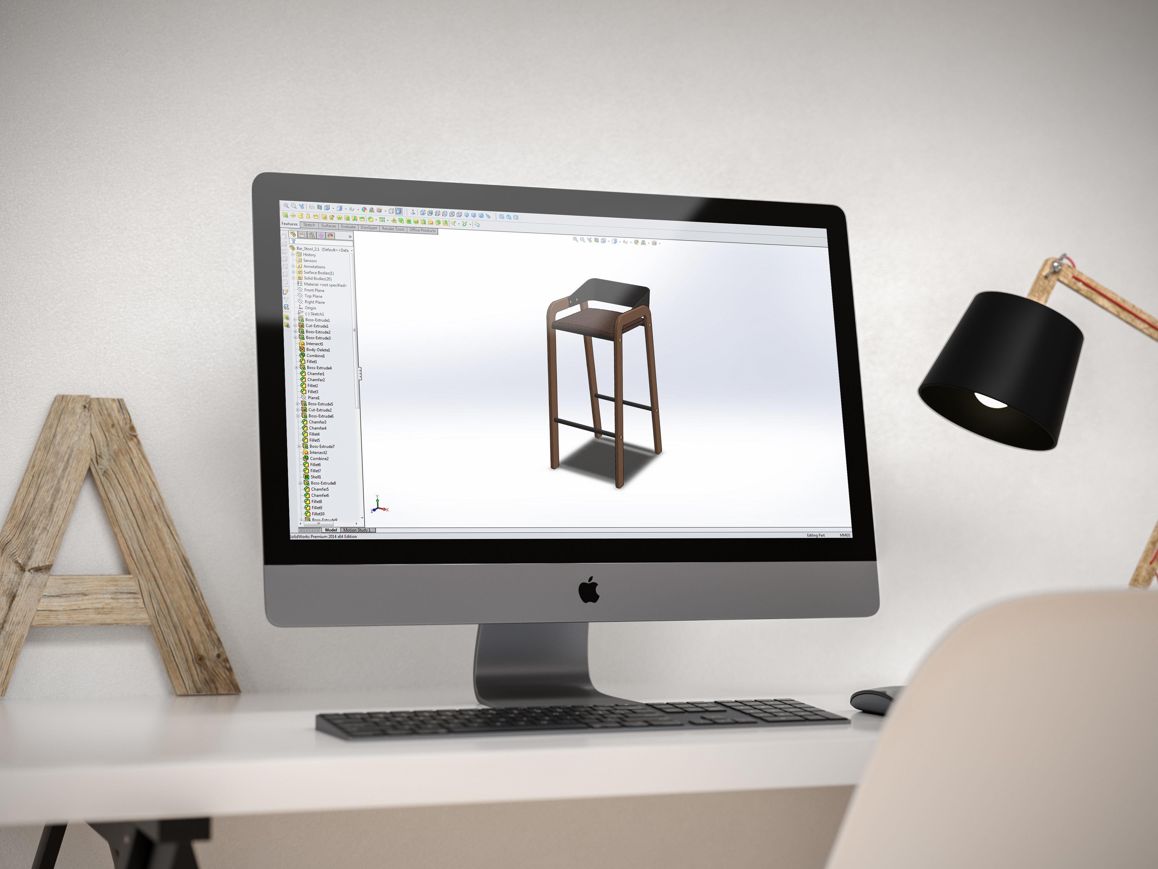 Designer Bar Stool Mid Century Modern Scandinavian Design 3D Model