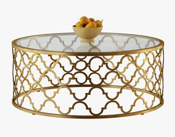 Round Moroccan Cocktail Table Gold 3D