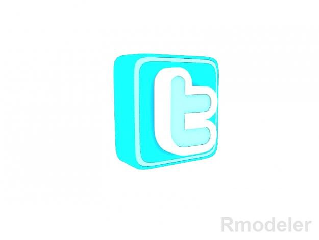 twitter letter 3d logo 3d model obj ma mb dae 1