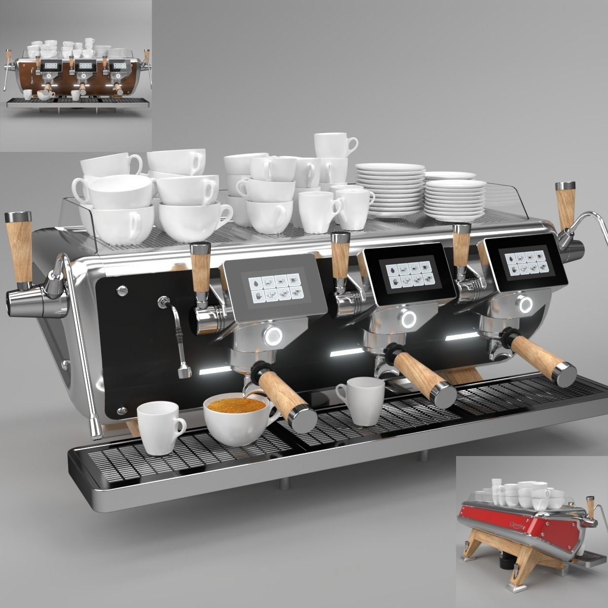 Astoria Coffee Machine Storm 3 Group Set Blender Cycles 3d Model