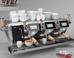 Astoria Coffee Machine Storm 3 group set Blender 3D model