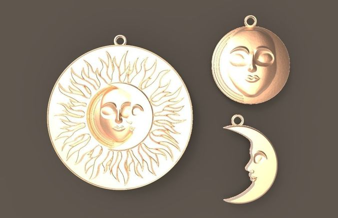 sun n moon - pendant and earrings 3d model obj mtl 3ds stl 1