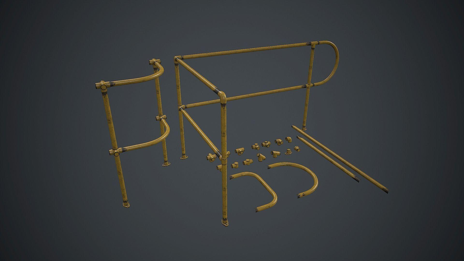 Modular Handrails PBR Game Ready