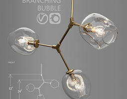 Branching bubble 3 lamps CLEAR GOLD 3D