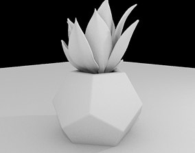 3D model Dodekaeder Concrete Potted Cactus